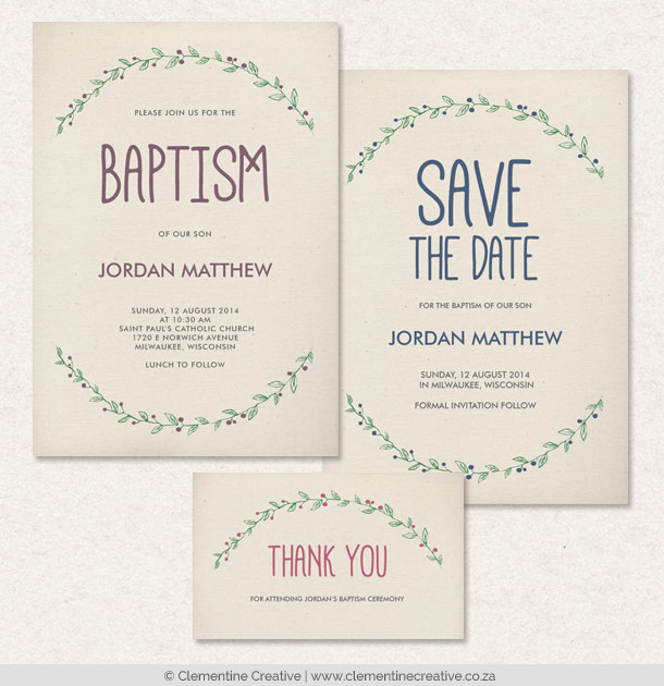 baptism invitations with laurel
