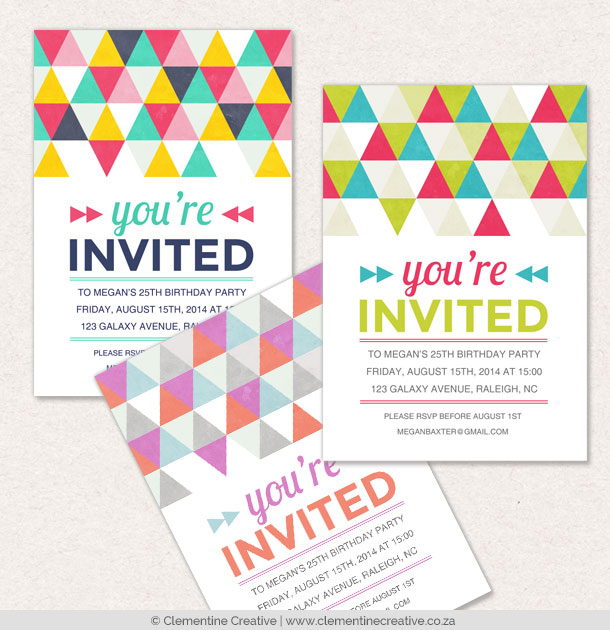 bright geometric party invitations