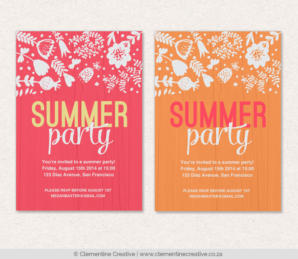 bright summer party invites