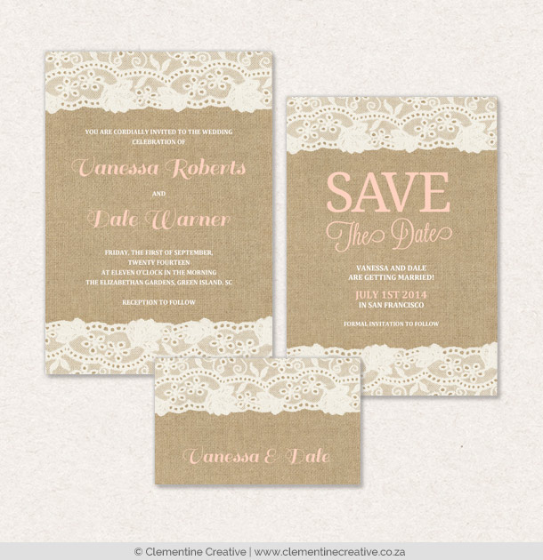 burlap and lace wedding stationery