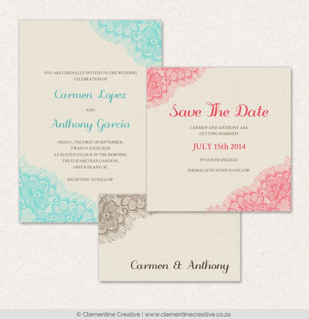 chantilly lace wedding stationery
