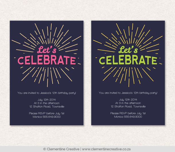 light ray party invitations