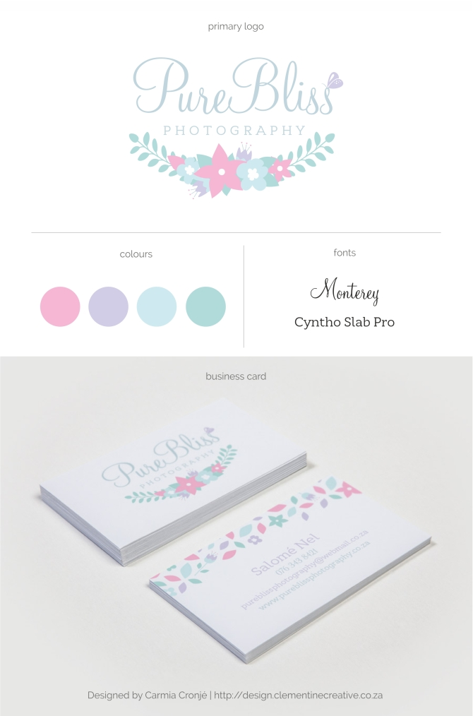 purebliss photography logo and business card design