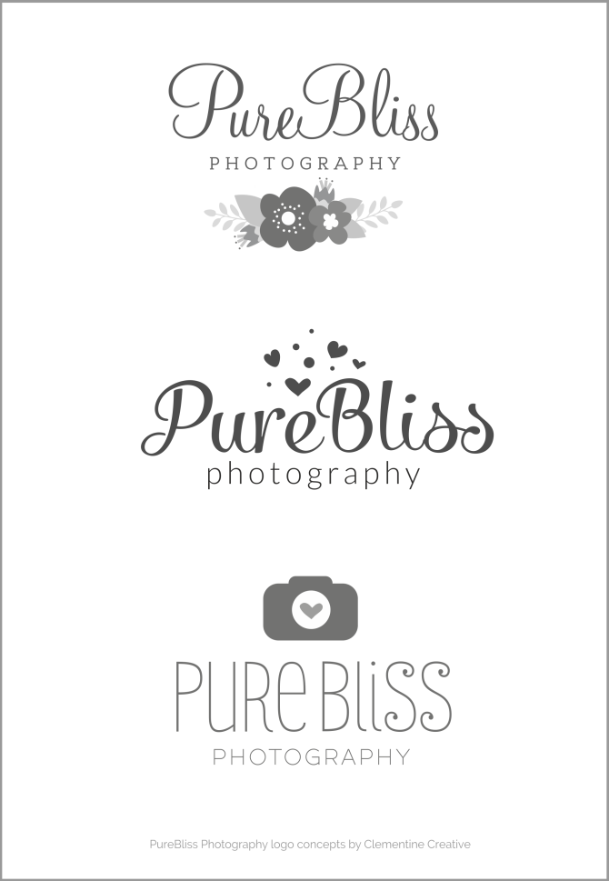 purebliss photography logo concepts