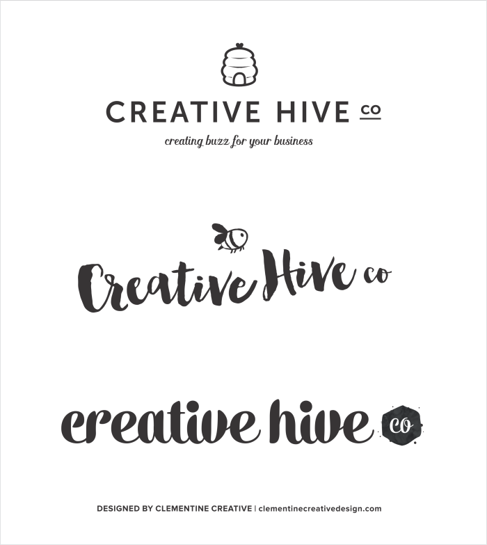 Logo concepts for Creative Hive Co. Designed by Clementine Creative