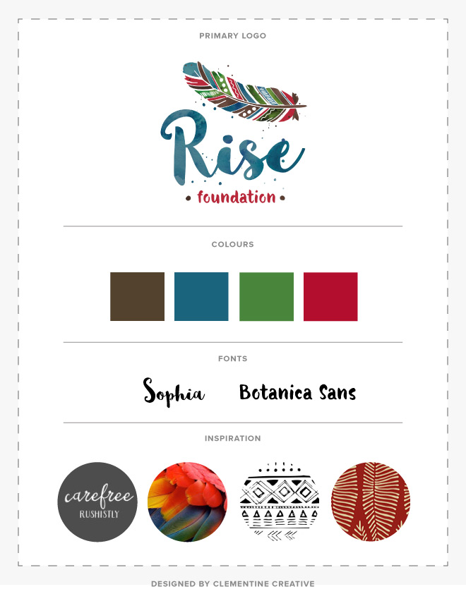 Rise Foundation logo options designed by Clementine Creative