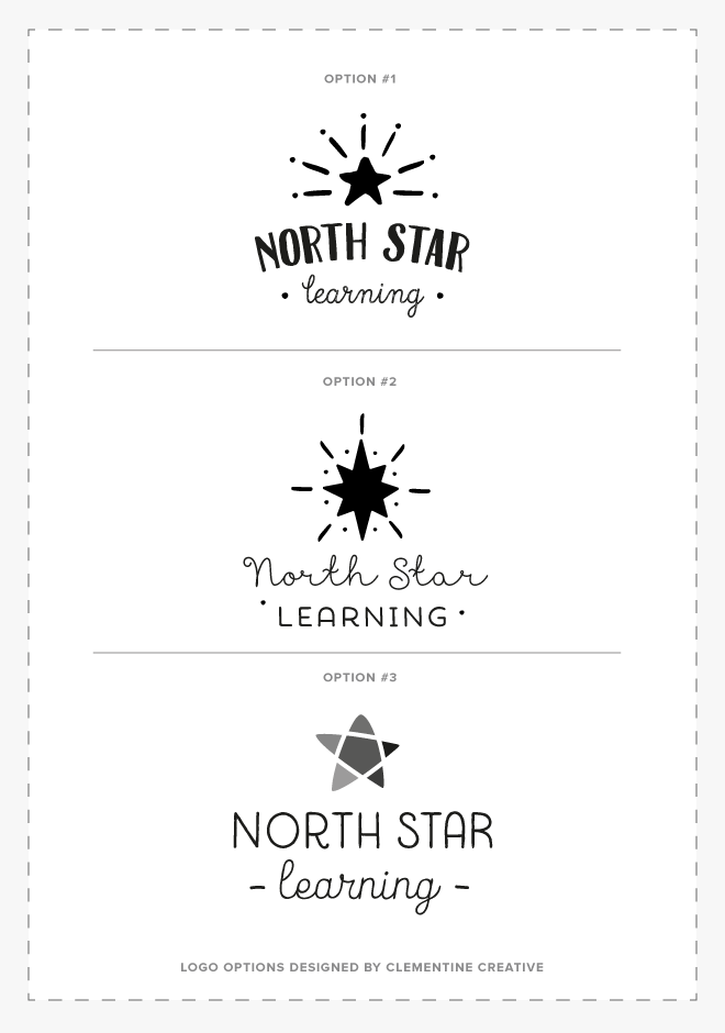 North Star Learning logo concepts designed by Clementine Creative